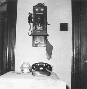 Telephones old and new.  Jan 1956.